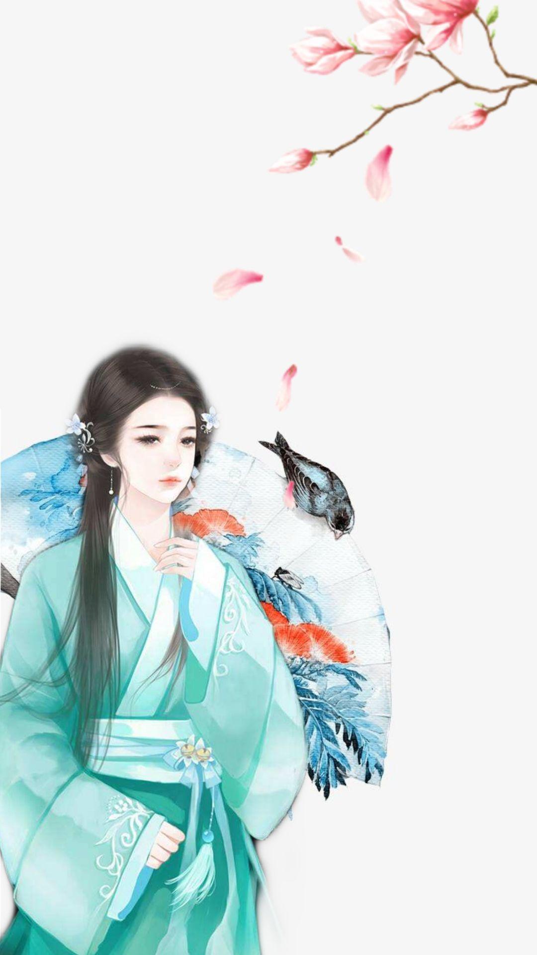 古风手绘唯美仙女壁纸:我只有孤独和酒,你要不要跟我走