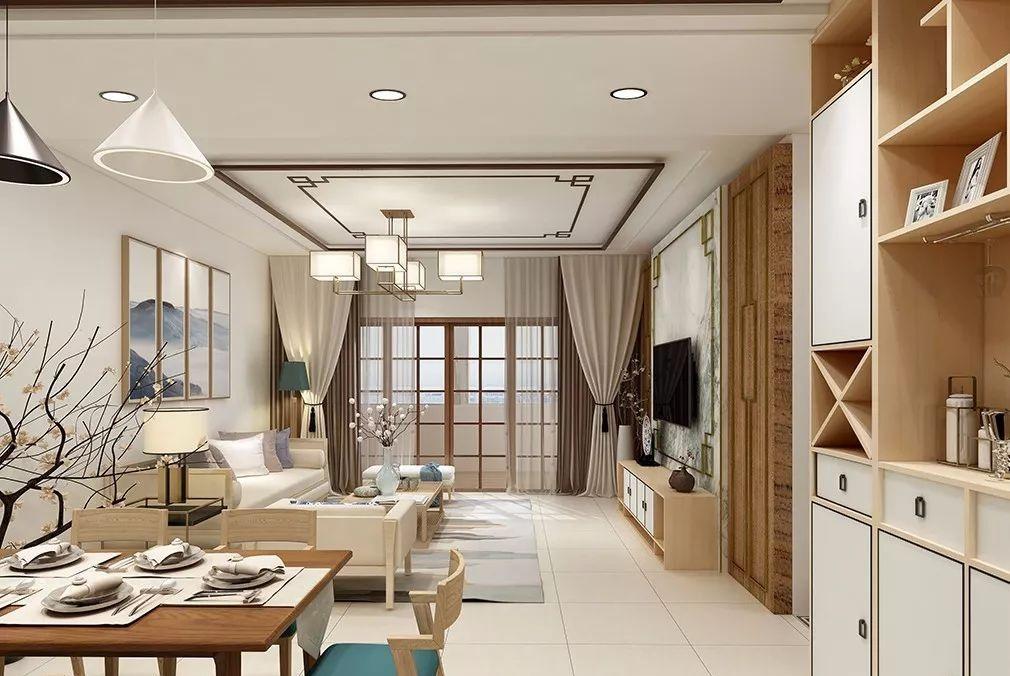 100平装出四房两厅中式风格,极简的线条刻画出了风雅韵味