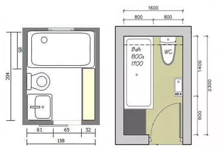 谁说小卫生间里不能装浴缸?这两种布局,让浴缸与卫生间完美结合