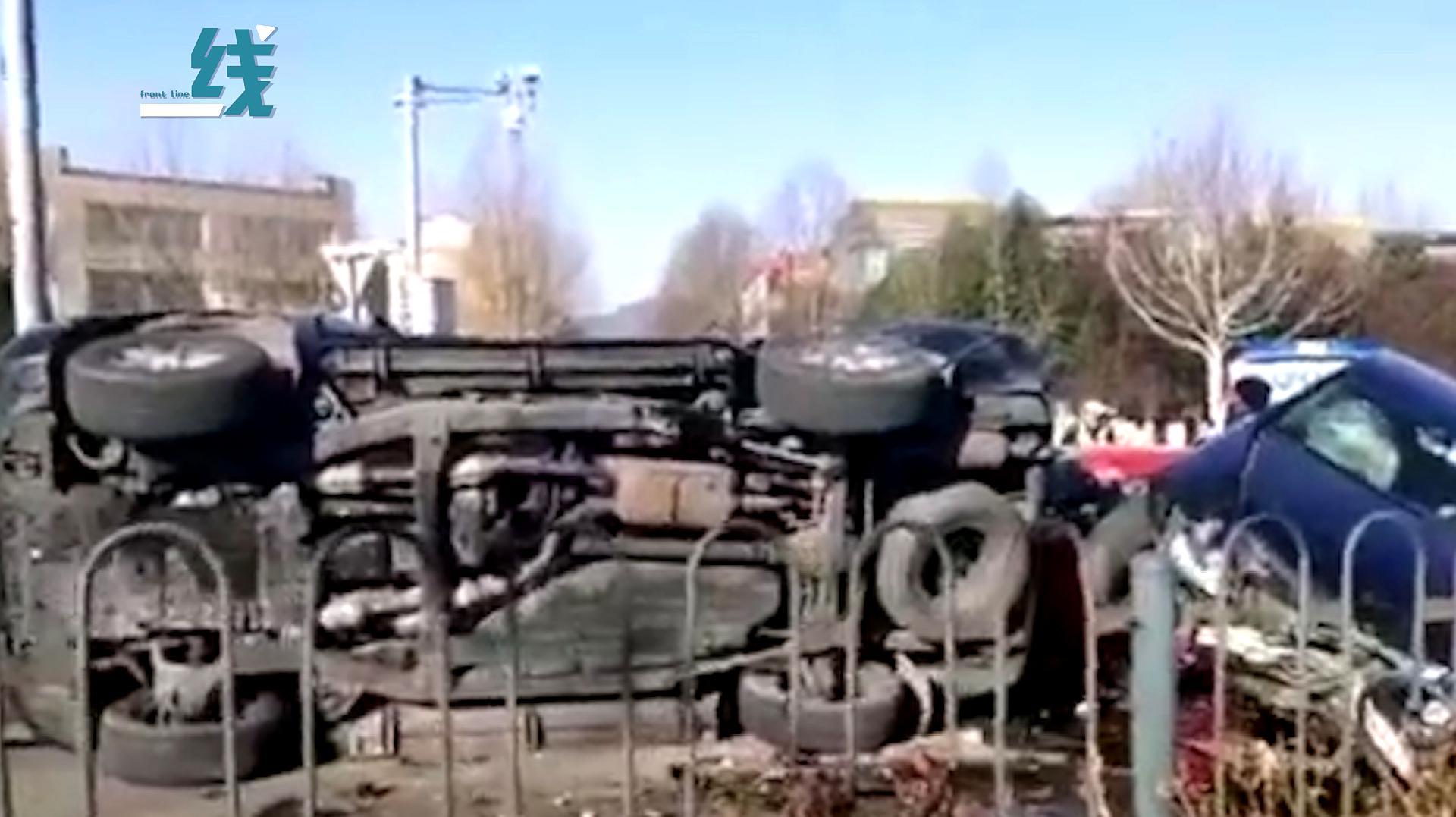 北京海淀区一辆黑色奥迪连撞4车 致1死4伤