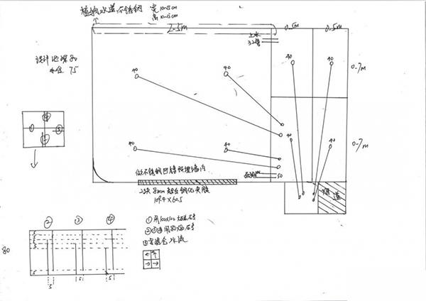 今天给大家分享一个露天小鱼池的建设过程,下面是楼主设计的鱼池草图图片