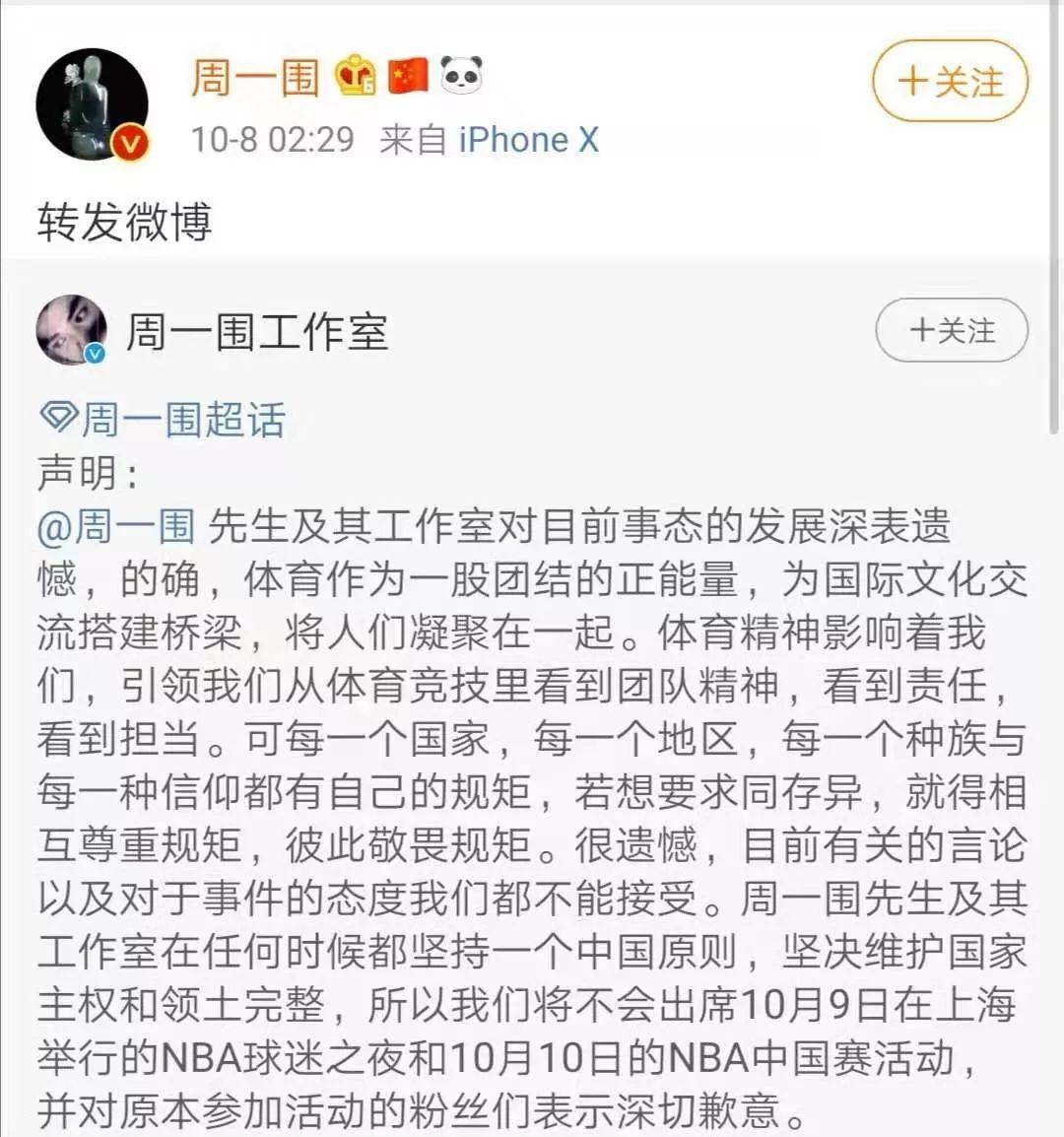 NBA總裁發言支援莫雷表達權利,凌晨多位明星表態:退出NBA中國賽!