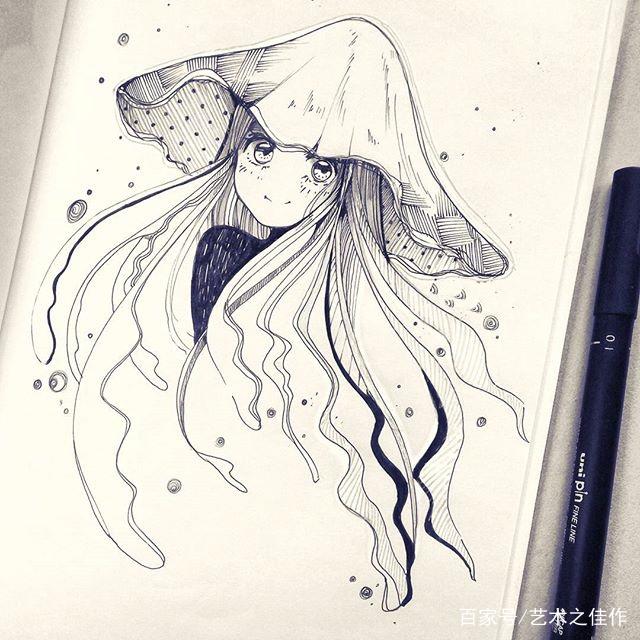 针管笔手绘美少女,可以说是非常可爱了