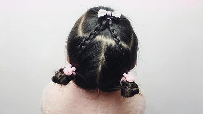 超萌超可爱的小女孩发型,简单易学,发量少的宝宝也适合!图片