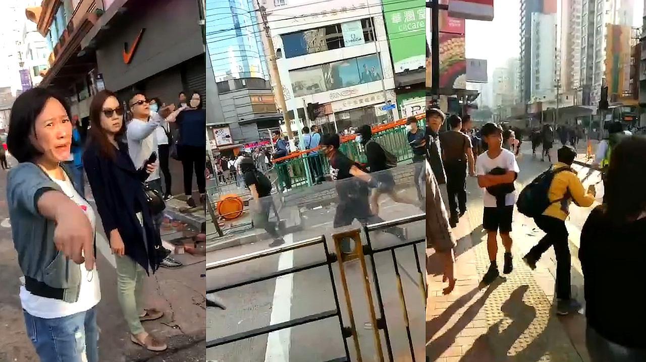 """""""滚 这里不欢迎你!""""香港市民奋起反击 合力将暴徒打得狼狈逃窜"""