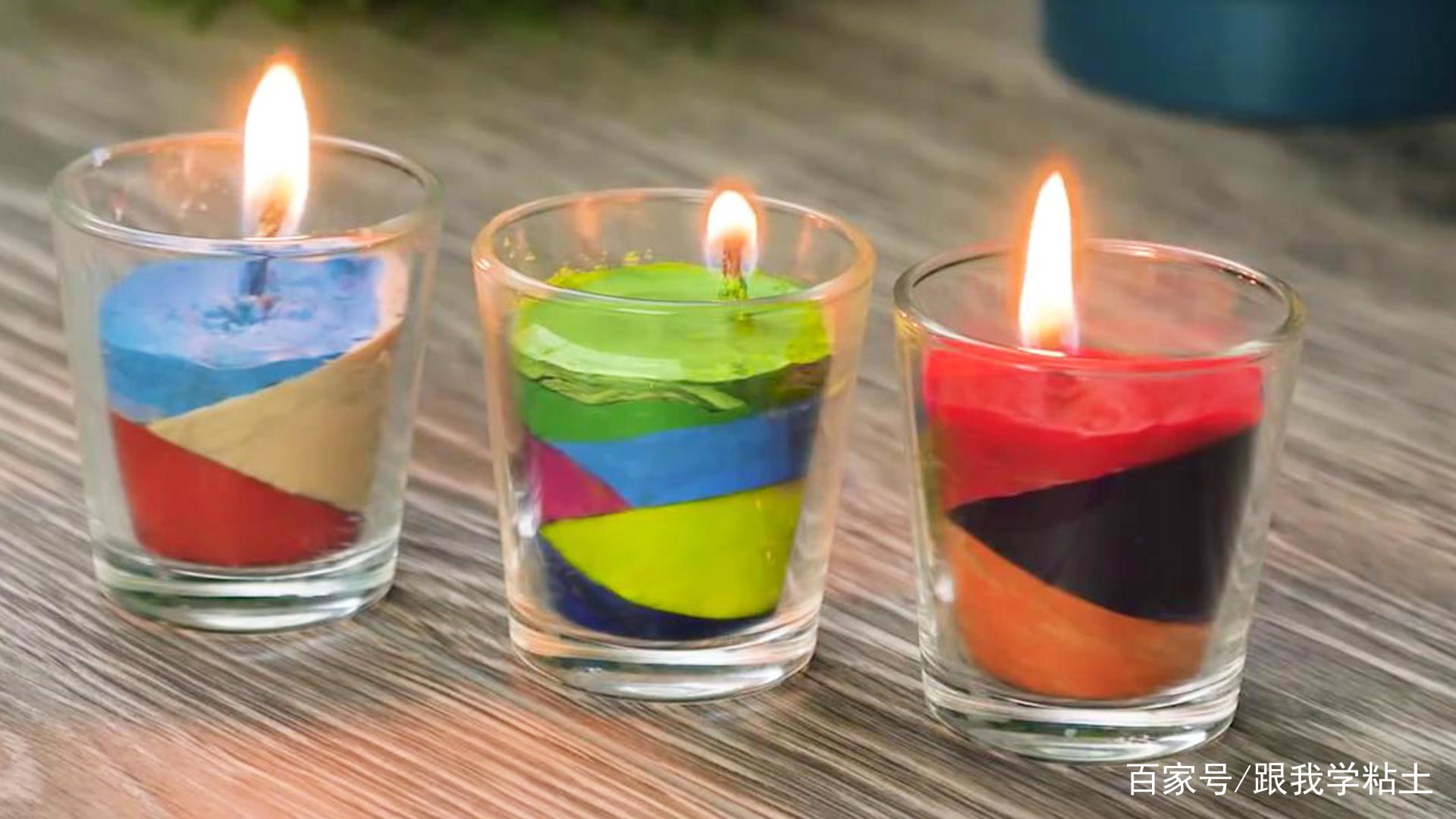 用玻璃杯和蜡笔自制浪漫蜡烛,创意diy手工教程