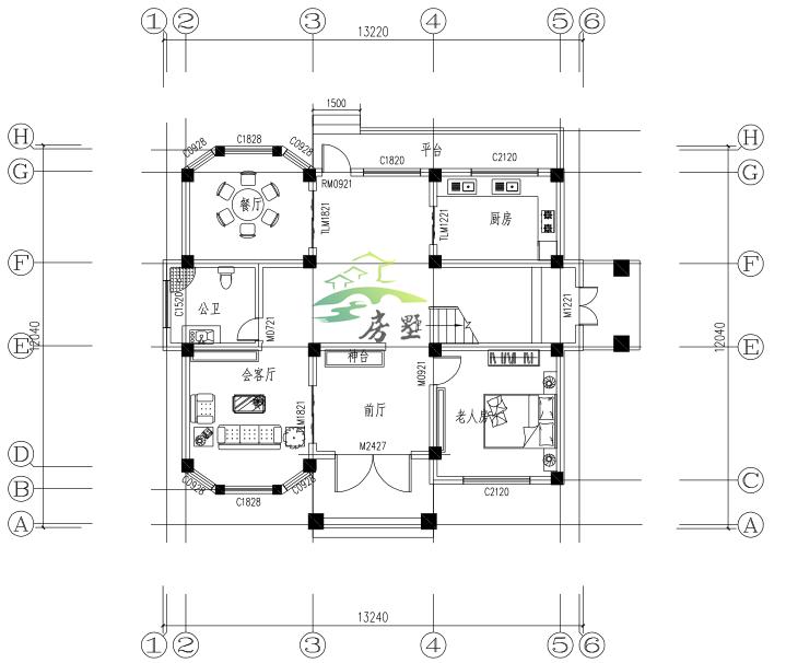 欧式三层别墅,八角窗设计的客厅餐厅,感受受独一无二的风格.