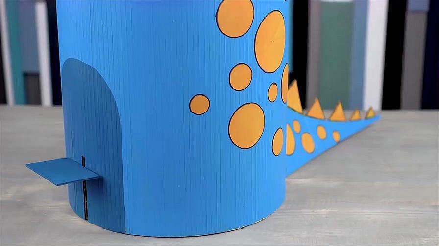 如何用纸板制作有趣的恐龙垃圾桶,孩子再也不乱扔垃圾了!