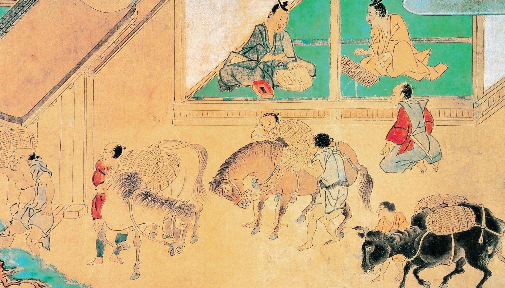 日本传统绘画_日本古代绘画,农民交租及村长交账的场景.