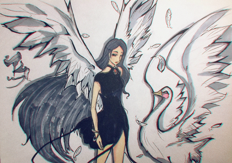 马克笔手绘,长翅膀的天使和恶魔