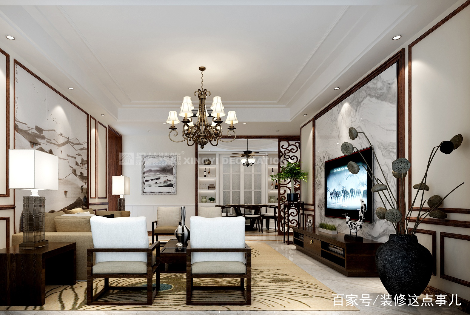 想要新中式沙发背景墙更出众,我只推荐这三种方案!