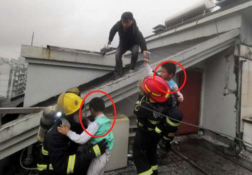 突发!滨江区滨兴北苑发生火灾,2个孩子被困屋顶……