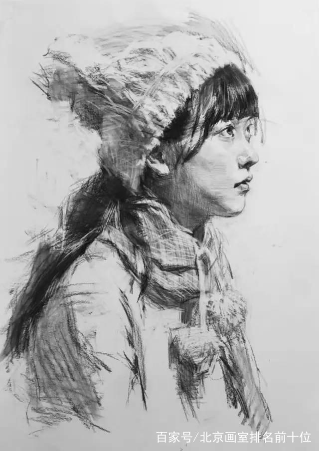 戴帽子的女青年素描画法,来感受下央美高材生的素描