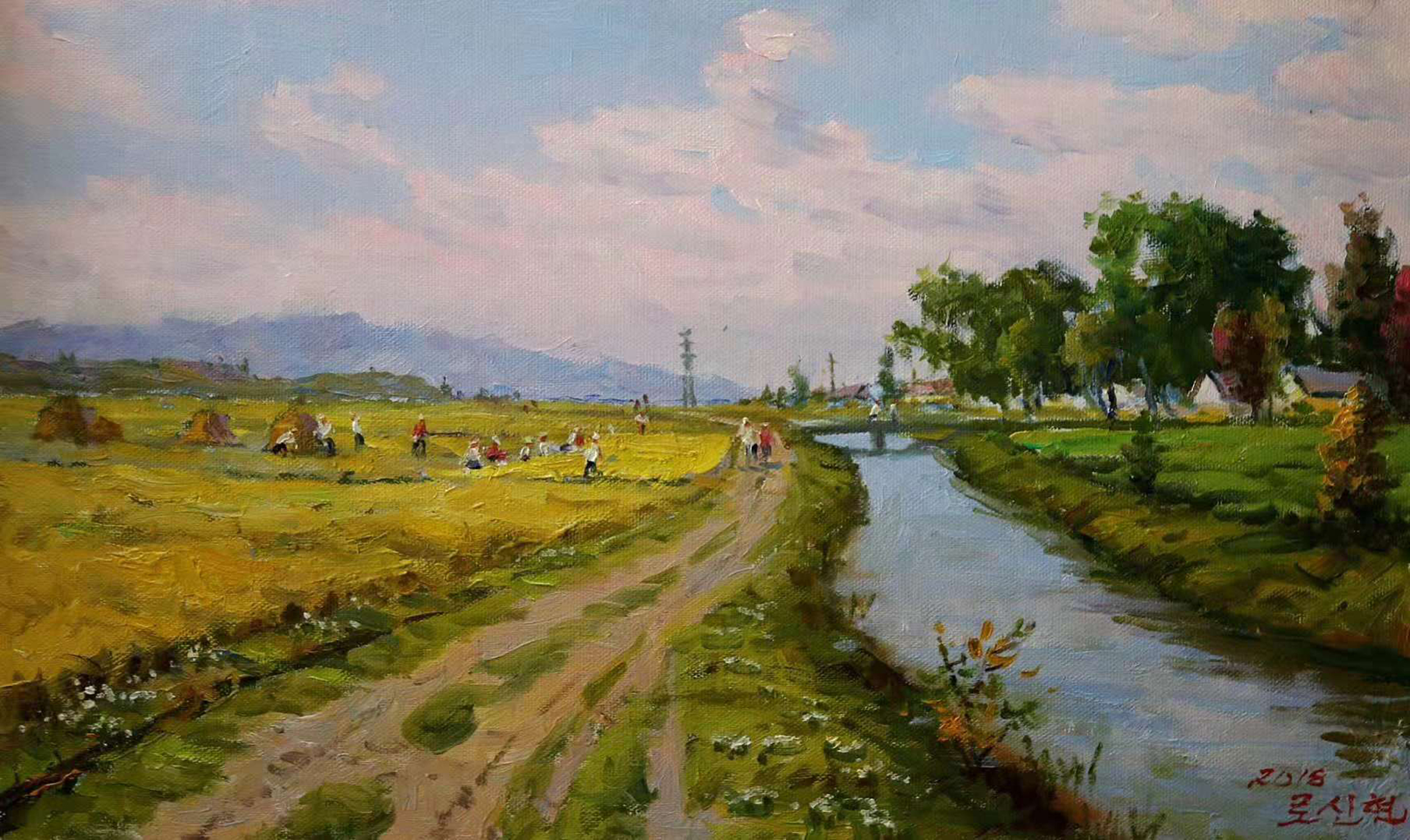 用油彩表现那条记忆中的泥路,油画风景欣赏