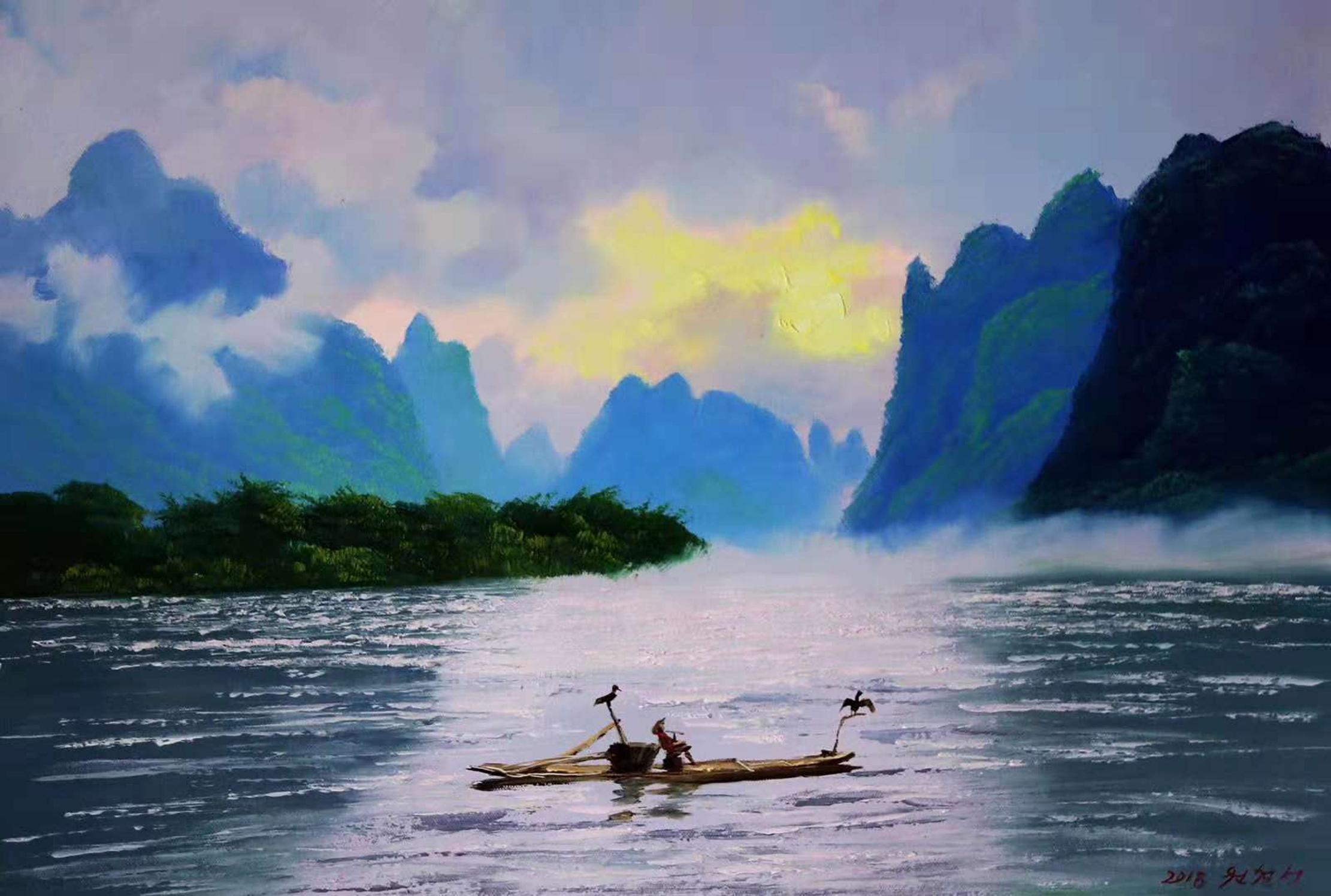 油画欣赏:一组描绘山清水秀的南方风景画