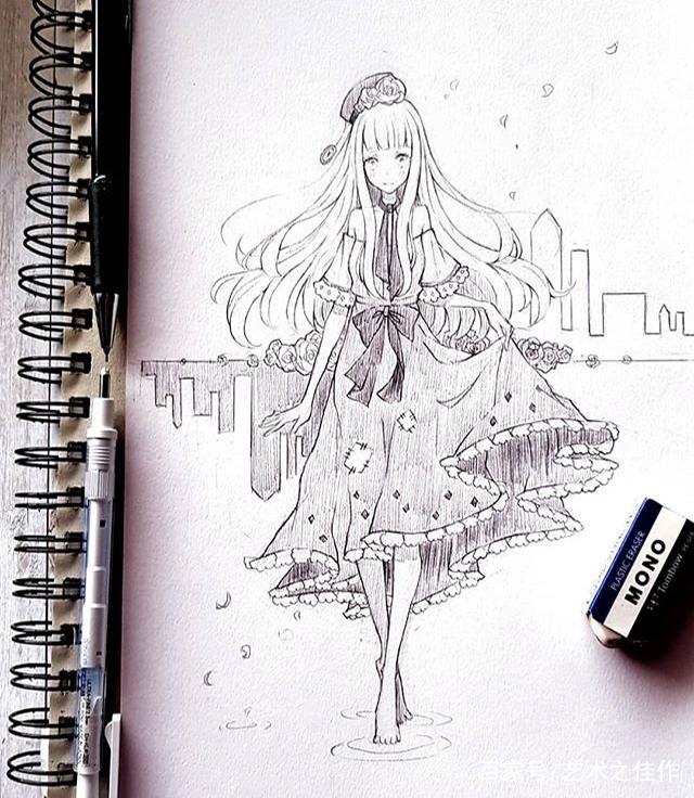 手绘人物线稿,漂亮的卡通动漫女孩