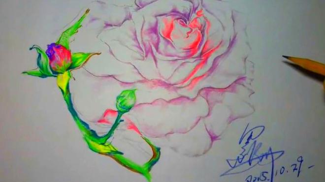 """作品小鸟伊人,彩铅手绘教程过程版 爱蜜部落 02:13 如何画出一只会""""飞"""