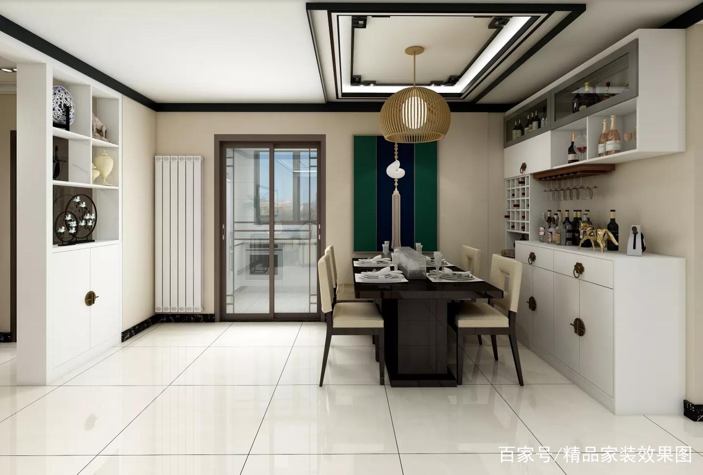 餐厅效果图.白色的酒柜与深色的餐桌搭配非常有层次感,既漂亮又实用.