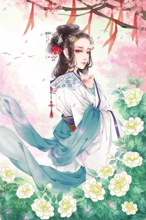 古风手绘绝美仙子壁纸:如果是去见你,我会踏着风浪,跑