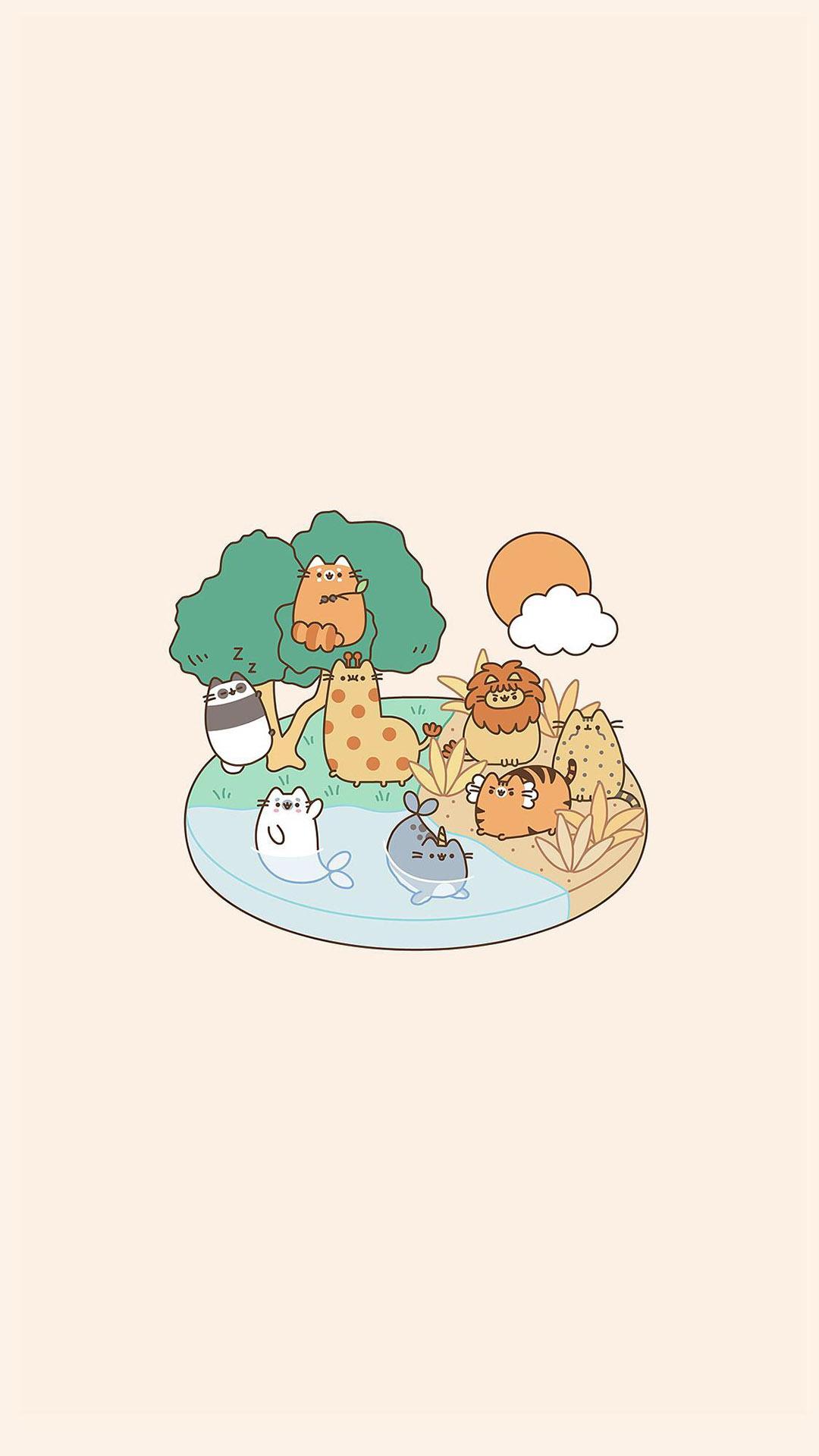 可爱卡通小动物手机壁纸图片,分辨率:1080x1920图片
