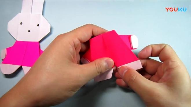 儿童手工折纸米菲, 简单可爱的小兔子米菲的折法