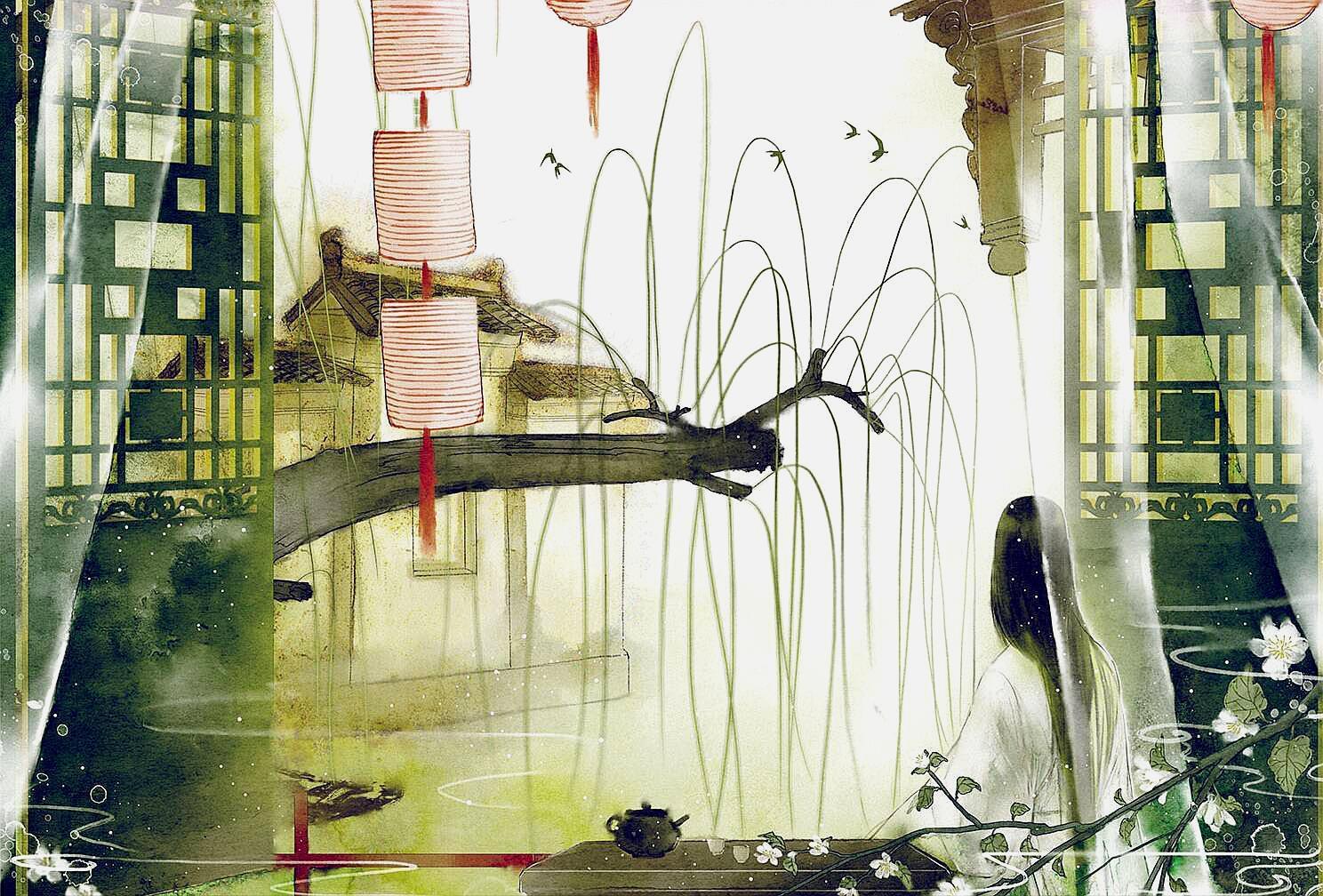 男人愘���Z[76����_鹅儿唼啑栀黄觜,凤子轻盈腻粉腰. 深院下帘人昼寝,红蔷薇架碧芭蕉.