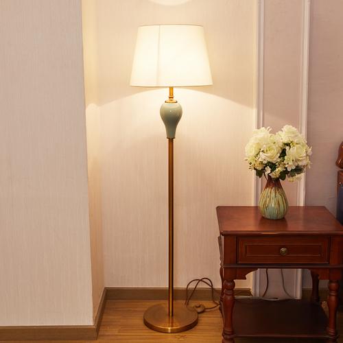 美式全铜落地灯客厅简约现代书房卧室床头灯陶瓷立式落地台灯复古图片