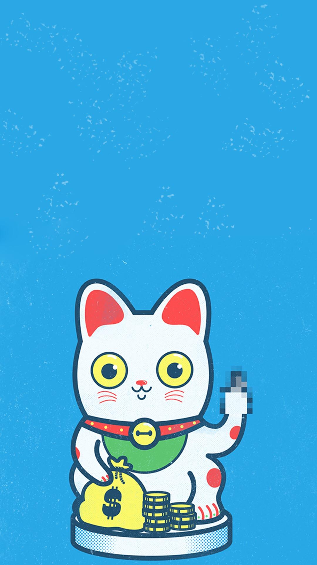 q版招财猫图片高清手机桌面壁纸,分辨率1080x1920