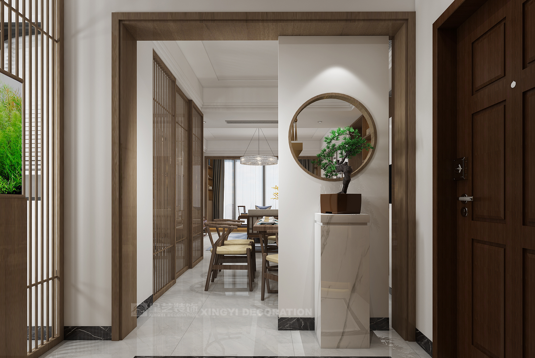新中式玄关如此设计,推开门就是惊艳!