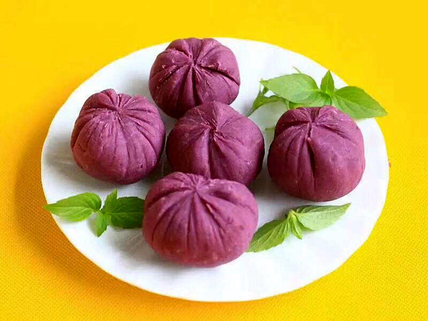 吃紫薯,功效好,天天变花样,不同的紫薯面点图片