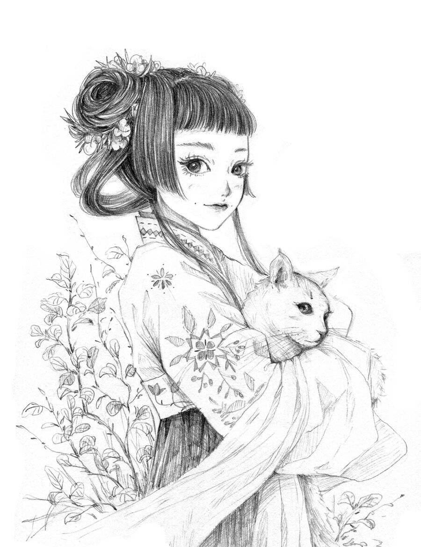 铅笔手绘:画风超可爱的女孩插画,细节画的细腻又精致