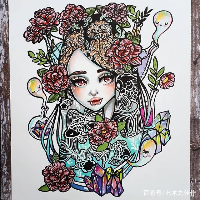 马克笔手绘,超有创意的人物插画,画风好喜欢