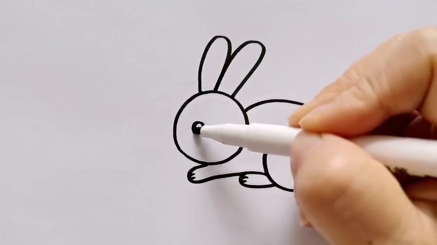 小兔子简笔画教程,跟着画3秒学会