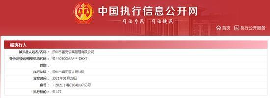 深圳市蛋壳公寓管理有限公司再被列为被执行人