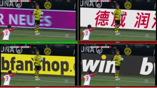 德甲联赛多特蒙德的一场比赛中,掷边线球时不同的区域市场镜头里向电视观众展示不同的广告内容