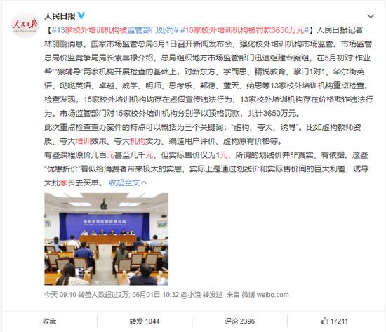 ▲ 15家校外培训机构被罚款3650万元(图/网络)