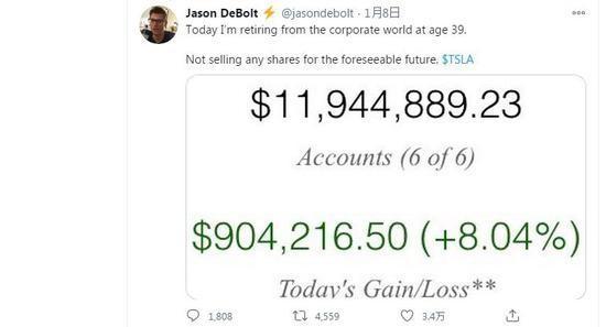 美国男子7.5美元时买特斯拉股票,今身价千万宣布退休