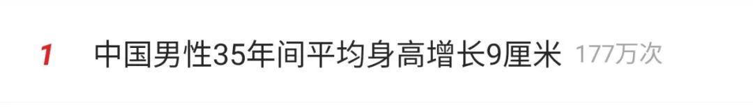 中国男性35年间平均身高增长9厘米