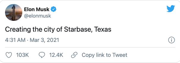 马斯克希望给得州火箭发射镇改名 法官称镇名不能因推文而改变