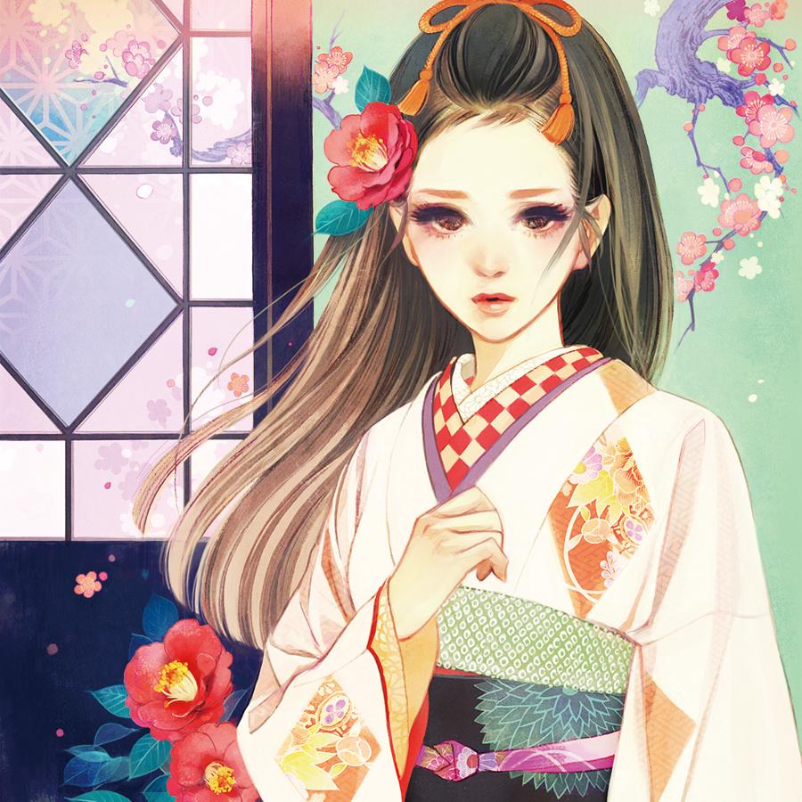 和风手绘女生美腻壁纸,谁曾饰一次百里情深红妆锦衣!