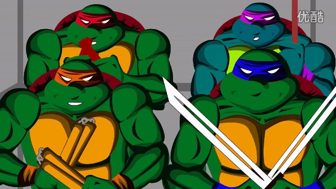 电梯内的B-BOX动画版《忍者神龟:变种时代》