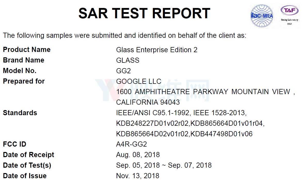 第二代谷歌AR眼镜企业版已通过美国FCC认证 AR资讯 第2张