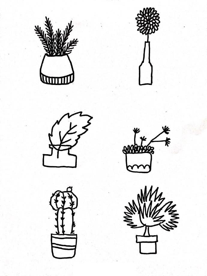 盆栽植物花盆简笔画,这是我见过最全的资料了,很适合