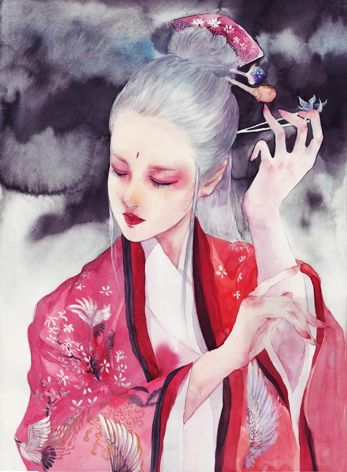 唯美手绘古风女生头像壁纸,千山冥冥恨离别,青裳渺渺