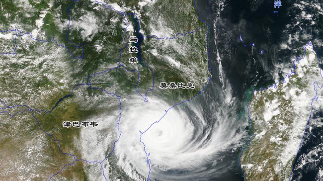 """中国风云卫星对准非洲:""""台风""""伊代巨灾过后,洪水淹没大片土地"""