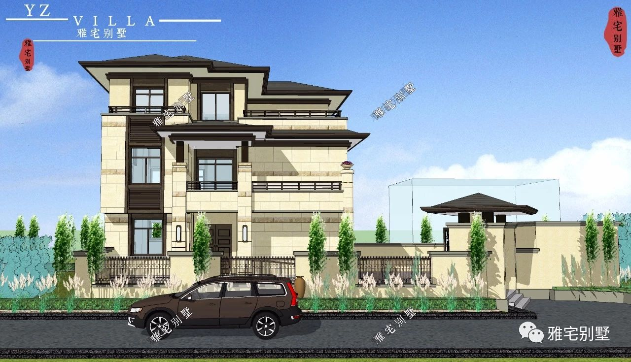 11x11米,三层新中式别墅,挑空客厅,独立地下室,顶层大