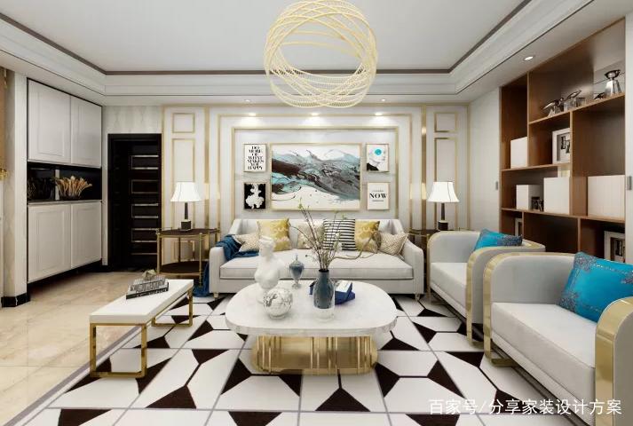 客餐厅软装独具艺术风格!白色优雅轻奢风混搭设计给你