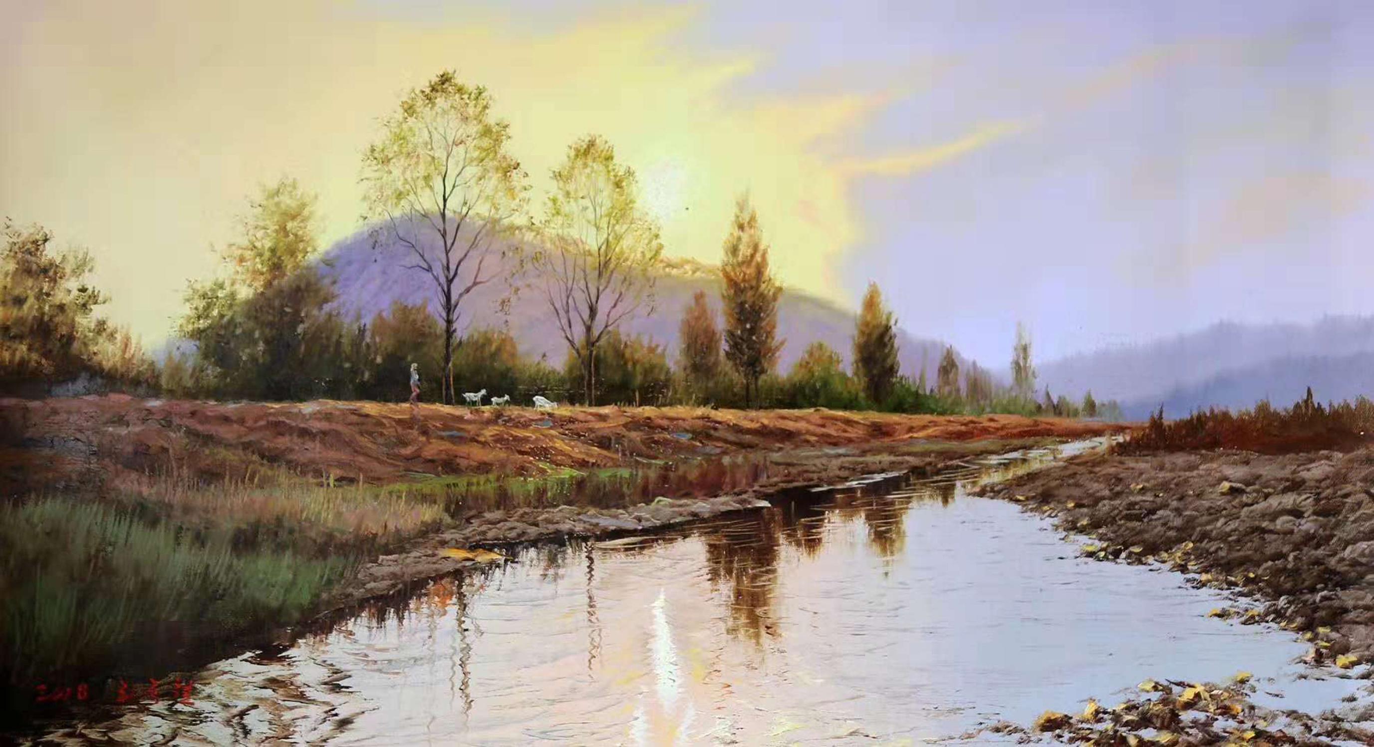 油畫風景:畫家筆下的一年四季景色,春天的湖水和冬天