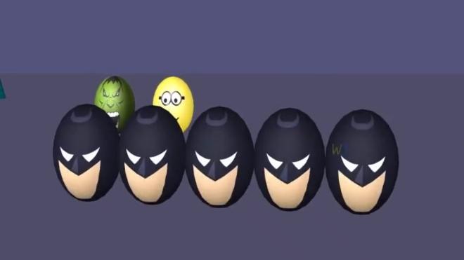 各种彩蛋上画着蜘蛛侠等英雄脸谱,彩蛋转一转竟然能一分为五