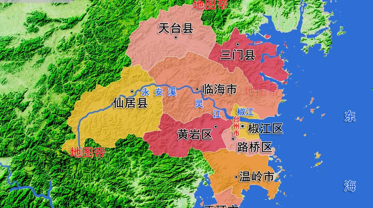 浙江台州市3县3市高清地图,素有佛宗道源之誉